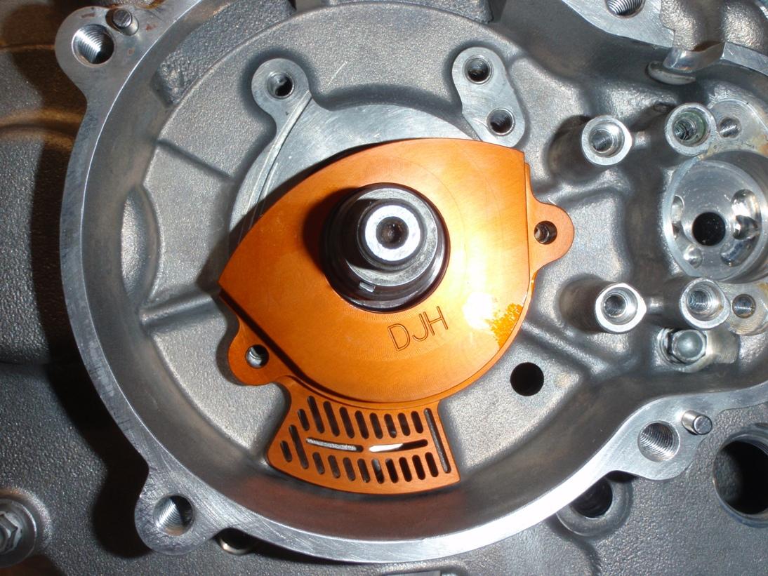 djh billet oil catcher - stator side rfs main bearing and cam
