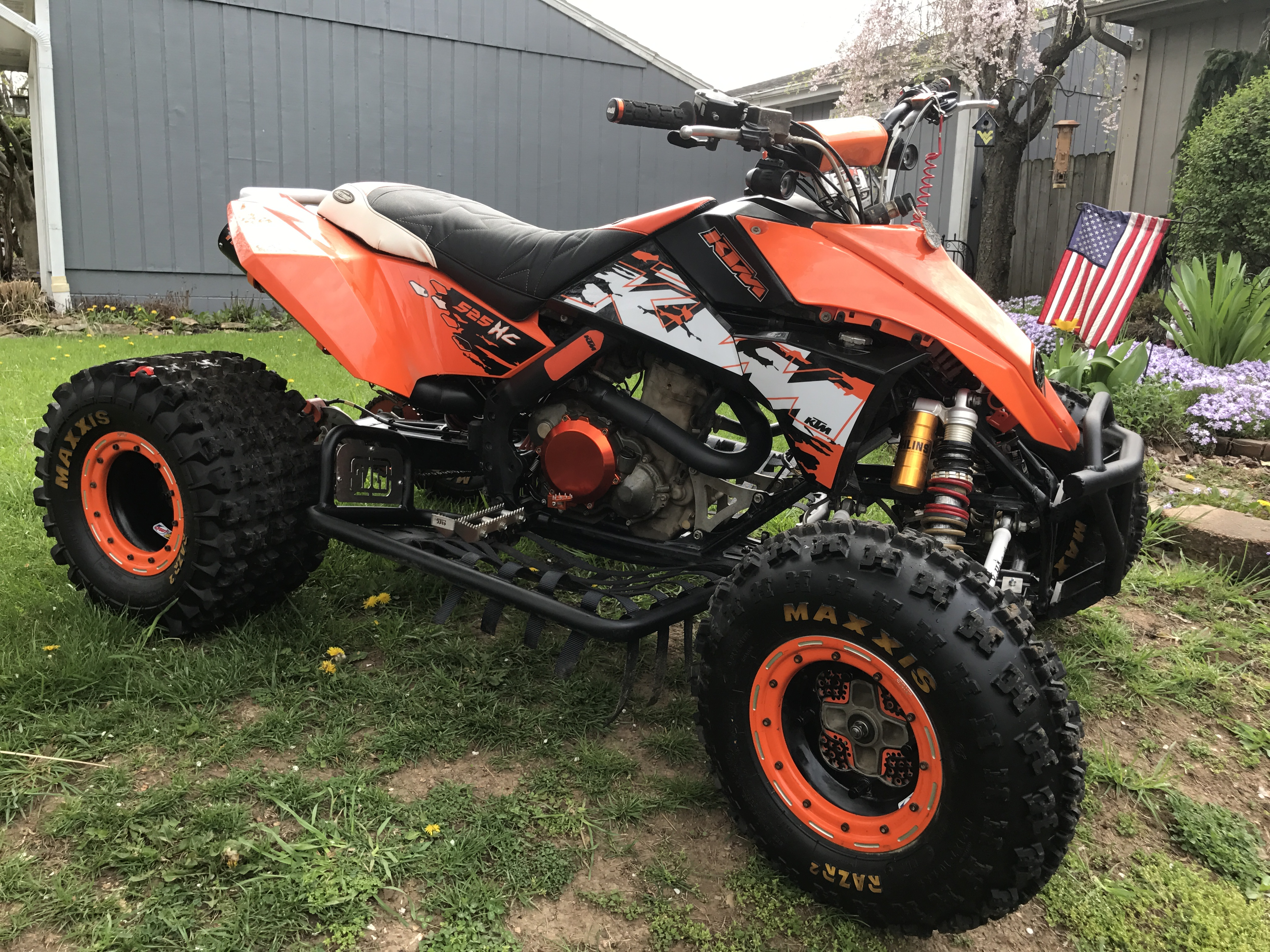 nearly new all 4 racing full black exhaust system ktm 525. Black Bedroom Furniture Sets. Home Design Ideas